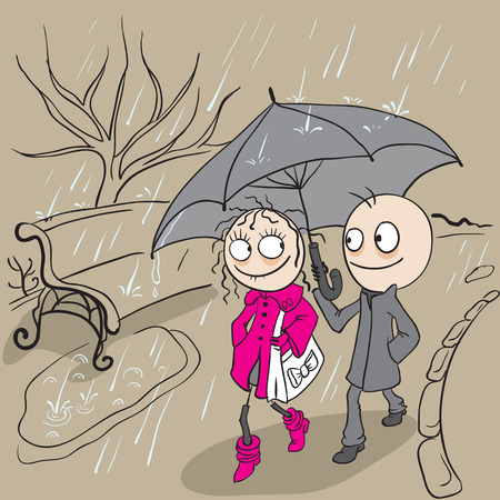rain cartoon: Loving couple walking park in rain. Autumn weather rain. Cartoon illustration in vector format