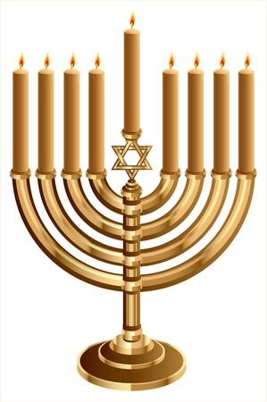 dedication: Hanukkah candleholder with 9 candles. Hanukkah candleholder with 9 candles. Candlestick for 9 candles. Isolated on white vector illustration