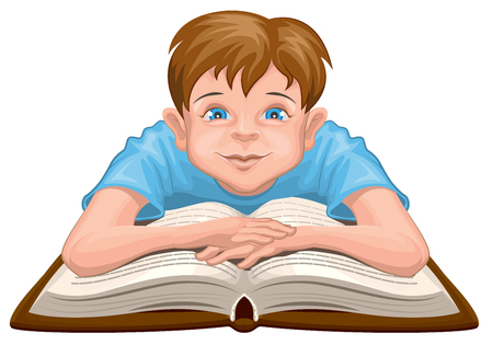 book isolated: Boy reading book. Child sits in front of an open book. Isolated on white vector illustration