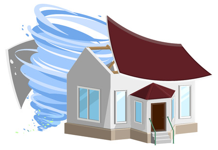 hurricane disaster: Hurricane destroyed roof of house. Property insurance. Isolated on white Illustration