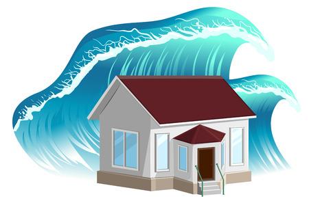 misfortune: House flooding. Property insurance. Isolated on white