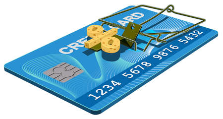 mousetrap: Credit card trap. Bank interest free cheese in mousetrap. Isolated on white Illustration