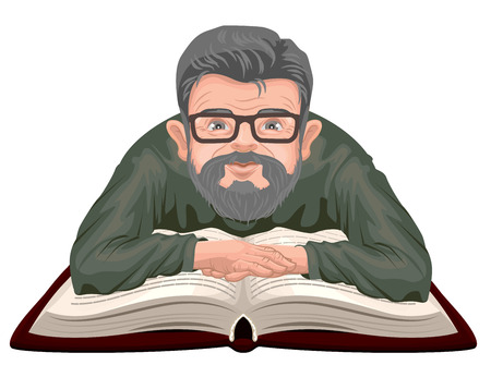 adult education: Grandfather reading book. Old man in glasses placed his hands on an open book. Isolated on white Illustration