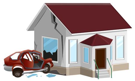 detriment: Car crash. Auto crashed into wall at home. Property insurance.