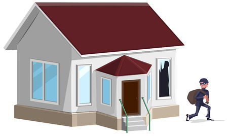 broken house: Male thief in mask robbed house. Property insurance.