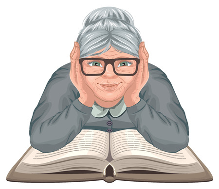 Grandmother reading book. Old woman in glasses placed his hands on an open book. Isolated on white Illustration