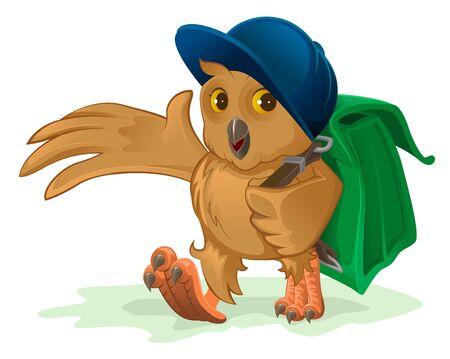 satchel: Owl schoolboy goes to school with his satchel behind.