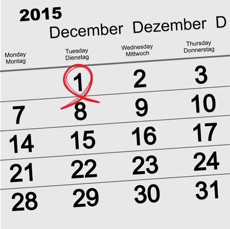 december: 01 de diciembre 2015 D�a Mundial del SIDA. S�mbolo de la cinta roja. Fecha del calendario recordatorio. Vectores