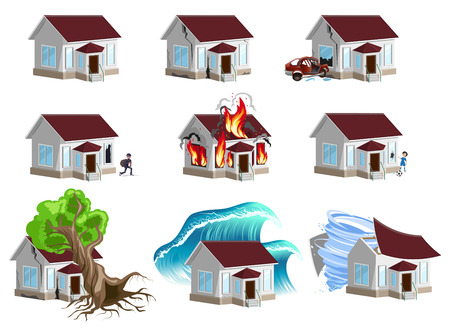 home insurance: Set homes Disaster. Home insurance. Property insurance. Isolated on white