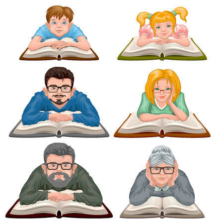 book isolated: Family reading book. Set people reading book. Isolated on white Illustration