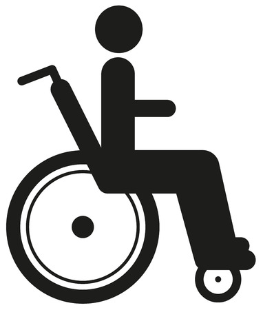 personne handicap�e: Black icon disabled person in wheelchair. World disability day.