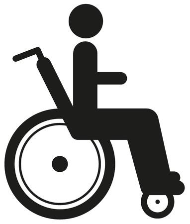 paraplegico: Icono negro persona inhabilitada en silla de ruedas. Disability World día.