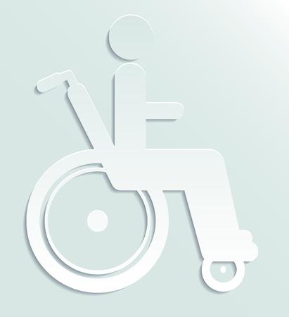 paraplegic: Blanco icono de papel discapacitado en silla de ruedas.