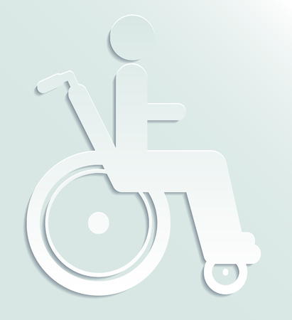single seat: White paper icon disabled person in wheelchair.