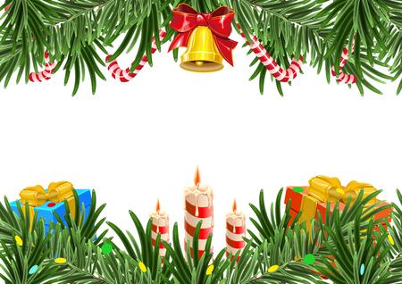 cajas navide�as: Corona de navidad hecha de ramas de abeto con la campana y la vela