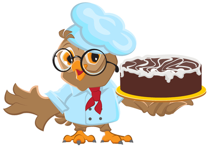 chocolate cake: Owl Chef holding cake Illustration