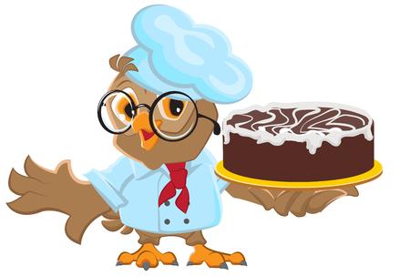 Owl Chef holding cake Illustration