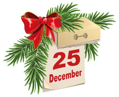 Tear-off calendar on 25 December. Christmas Eve