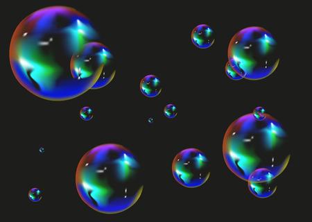 multi: Multi colored soap bubbles on black background.  Illustration