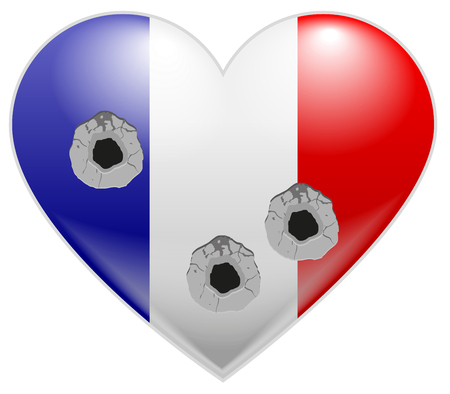 holes: Bullet holes in heart of French flag