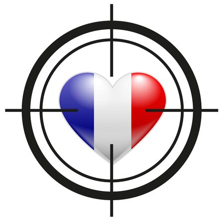 Heart of France flag at gunpoint terrorism