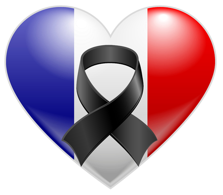 mourn: French flag heart with black mourning ribbon Illustration