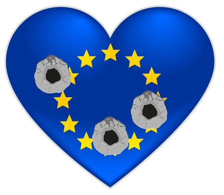 gun holes: Bullet holes in heart of European Union flag Illustration