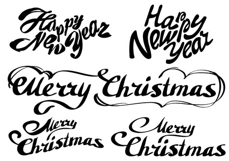 title emotions: Set Happy new year text. Merry Christmas. Isolated illustration format