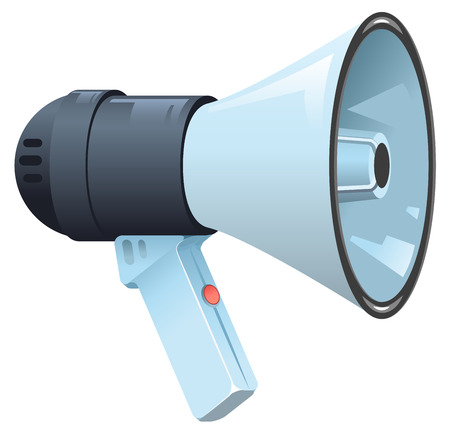 megaphone: Modern electric horn speaker megaphone. Isolated illustration format