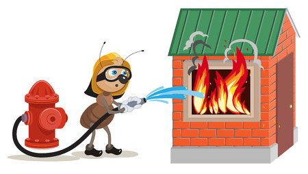 hormiga caricatura: Bombero extingue Ant casa. Ilustraci�n en formato vectorial