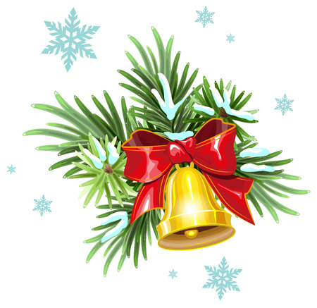 golden ribbon: Fir branches, red ribbon and golden bell. Christmas Decoration. Illustration in vector format