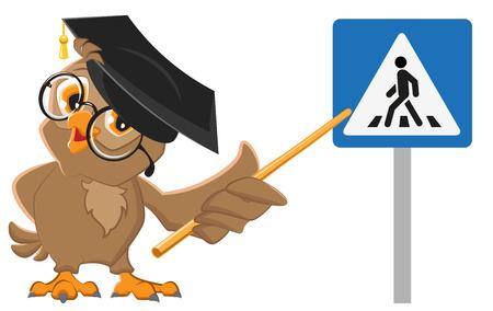 Owl enseignant montre signe passage piéton. Les lois de la circulation de l'éducation. Illustration isolé en format vectoriel
