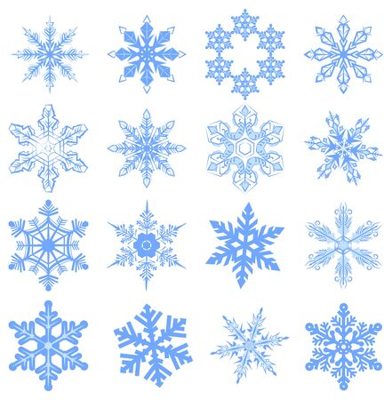 schneeflocke: Big set Snowflake. Flake of snow. Isolated on white vector illustration