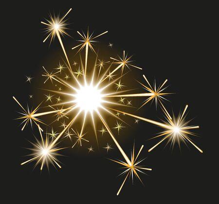 Fireworks sparkler on black background. Illustration in vector format