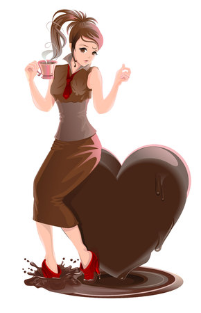 melt: Beautiful girl and hot chocolate. Chocolate heart melts. Isolated illustration in vector format Illustration