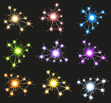 bengal fire: Set fireworks sparkler on black background. Illustration in vector format