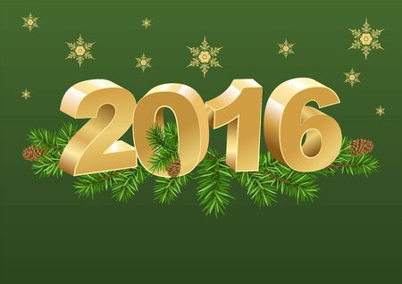 gold numbers: 2016 gold numbers and spruce branches. Illustration in vector format