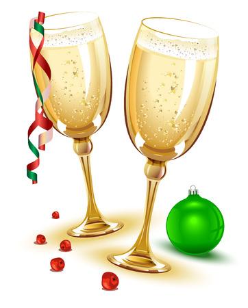 Deux verres de champagne. Nouvelle Eve Année. Illustration en format vectoriel