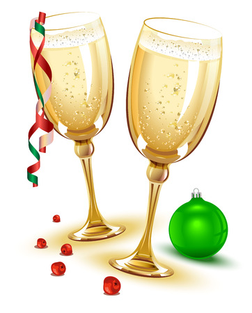 glass ball: Two glasses of champagne. New Year Eve. Illustration in vector format