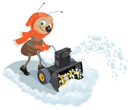 Ant domestic snow-plow. Snow thrower. Illustration in vector format Illustration
