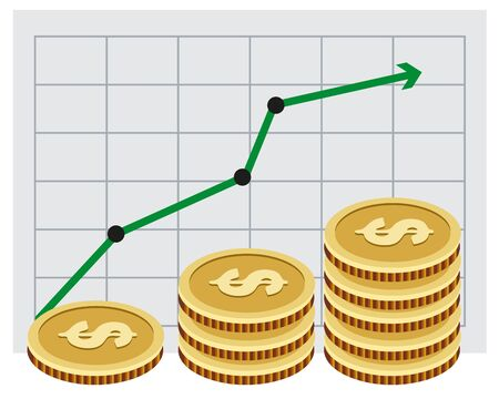 investing: Investing money. Money growth graph. Illustration in vector format