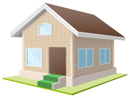 vacation home: Vacation home. White cottage. Isolated illustration in vector format Illustration