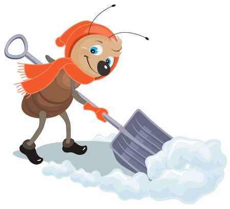 snowdrift: Ant removes snow shovel. Snow clearance. Illustration in vector format