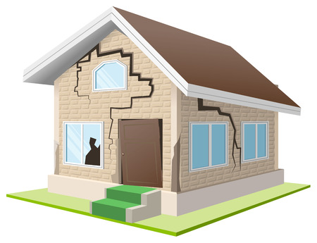 cracked wall: Earthquake cracked wall of house. Vacation home. Property insurance. Isolated illustration in vector format