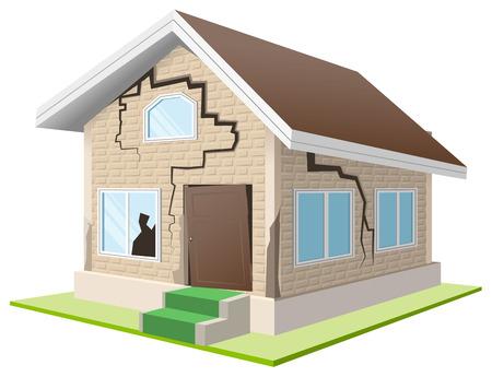 Terremoto quebró el muro de la casa. Casa de vacaciones. Seguro de propiedad. ilustración en formato vectorial Foto de archivo - 49501641