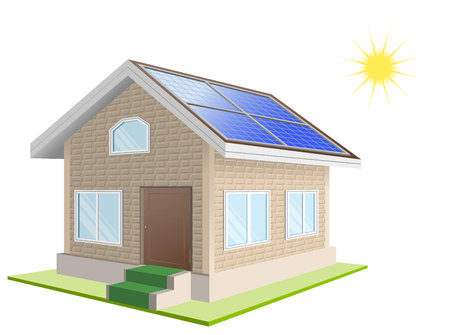 vacation home: Solar power. Vacation home. Solar panels on roof. Isolated illustration in vector format