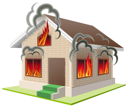 Stone house burns. Property insurance against fire. Home insurance. Isolated on white vector illustration 일러스트
