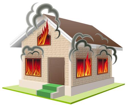 incendio casa: Casa de piedra quema. El seguro de propiedad contra el fuego. Seguro de hogar. Aislado en blanco ilustración vectorial