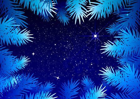 coniferous forest: cielo estrellado en el bosque de invierno. ramas de abeto Modelo escarchado. Ilustración en formato vectorial Vectores