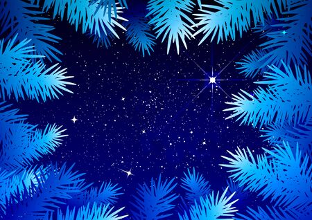 winter forest: Starry sky in the winter forest. Spruce branches frosty pattern. Illustration in vector format Illustration